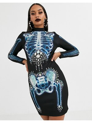 ASOS DESIGN halloween high neck bodycon mini dress with skull detail-multi