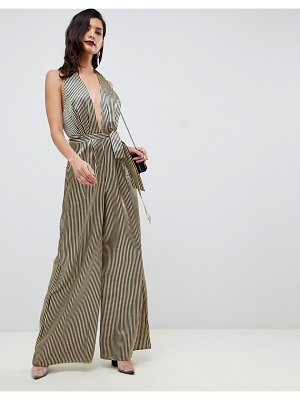 ASOS DESIGN satin halter jumpsuit