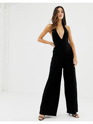 ASOS DESIGN halter neck jumpsuit with plunge front