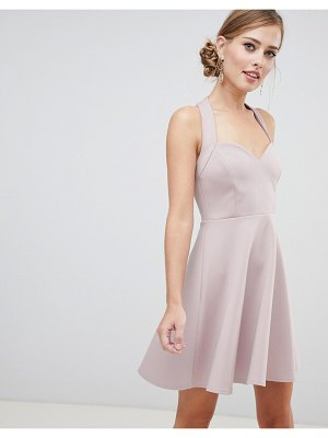 ASOS DESIGN halter neck skater dress with sweetheart neck