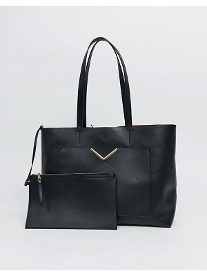 ASOS DESIGN hardware pocket shopper with removable clutch bag