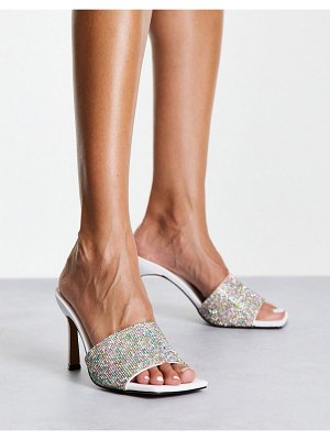 ASOS DESIGN heartly embellished heeled mules in white