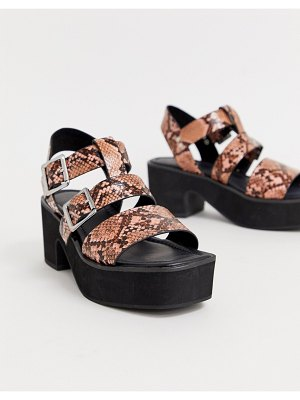 ASOS DESIGN helper chunky mid-heeled sandals in pink snake