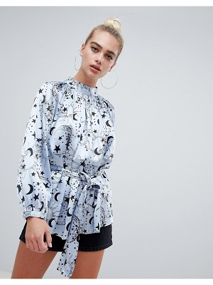 ASOS DESIGN high neck satin blouse in moon and star print