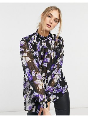 ASOS DESIGN high neck top with shirred neck in floral print-multi