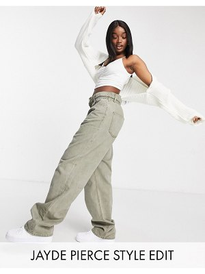 ASOS DESIGN high rise 'relaxed' dad jeans with paper bag waist in khaki-green