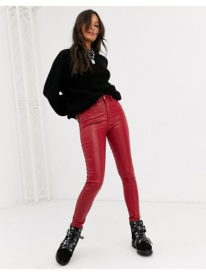 ASOS DESIGN high rise ridley 'skinny' jeans in red coated