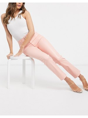 ASOS DESIGN high rise 'sassy' cigarette jeans in coated pink