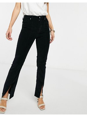 ASOS DESIGN high rise 'sassy' cigarette jeans with front slit in black cord