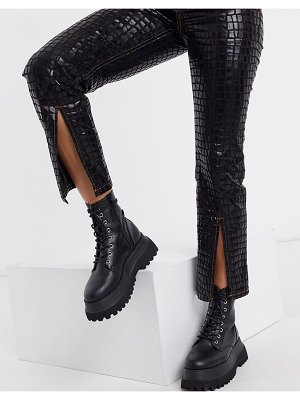 ASOS DESIGN high rise 'sassy' cigarette jeans with slit front in croc-black