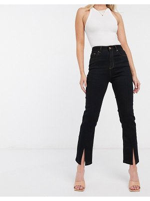ASOS DESIGN high rise 'sassy' cigarette jeans with split hem in black