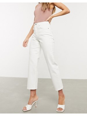 ASOS DESIGN high rise 'slim' stretch straight jeans in white
