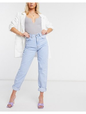 ASOS DESIGN high rise 'slouchy' mom jeans in brightwash-blue