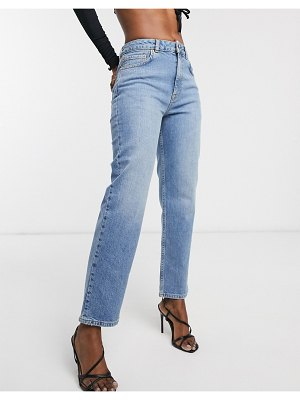 ASOS DESIGN high rise stretch 'slim' straight leg jeans in light vintage wash-blue