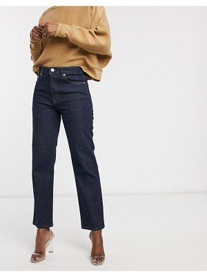 ASOS DESIGN high rise stretch 'slim' straight leg jeans in rinse wash-blue