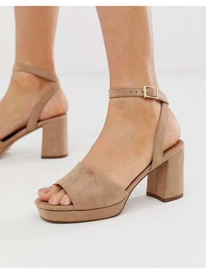 ASOS DESIGN hockey platform heeled sandals in warm pink
