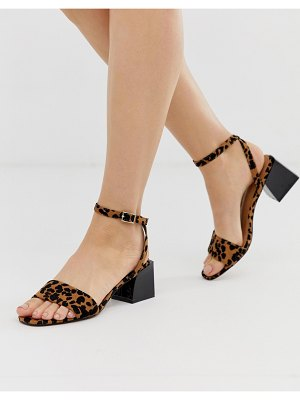 ASOS DESIGN honeywell block heeled sandals in leopard-multi