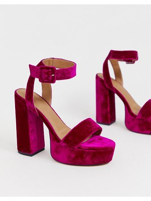 ASOS DESIGN hostess platform heeled sandals in magenta-pink
