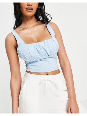ASOS DESIGN hourglass ruched bust cami in blue-blues