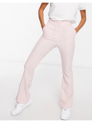 ASOS DESIGN hourglass slim kick flare pants with seams in pink