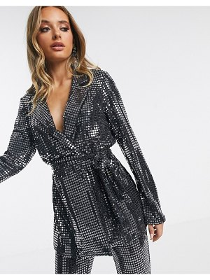 ASOS DESIGN jersey sequin belted wrap suit blazer-silver