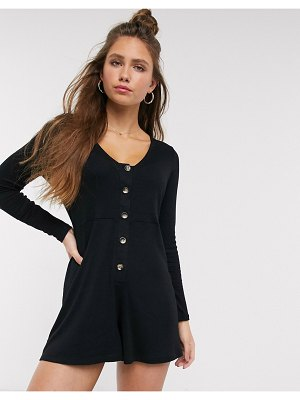 ASOS DESIGN jersey slouchy rib romper with button front-black