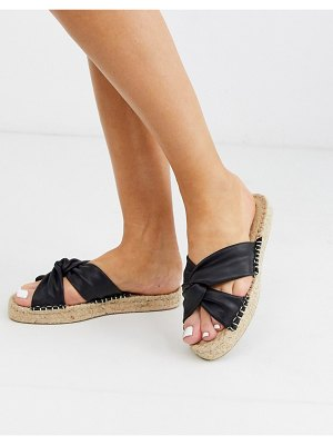 ASOS DESIGN jolly knotted mule espadrille in black