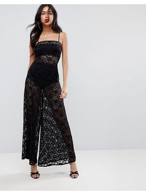 ASOS DESIGN jumpsuit in lace with wide leg-black