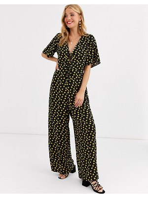 ASOS DESIGN jumpsuit with double tie front in ditsy print
