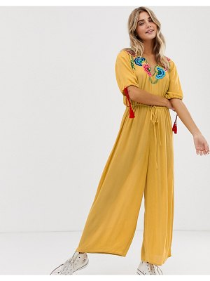 ASOS DESIGN jumpsuit with embroidery and tie sleeve detail-yellow