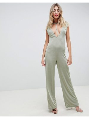 ASOS DESIGN Jumpsuit with Low Plunge Detail in Slinky Jersey