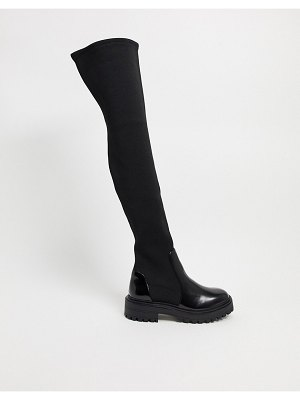 ASOS DESIGN keeley chunky flat over the knee boots in black