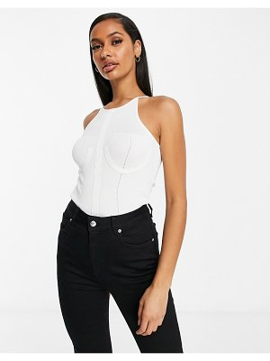 ASOS DESIGN knitted halterneck bodysuit with cup detail in white
