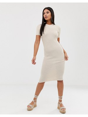 ASOS DESIGN knitted t-shirt midi dress in natural look yarn-stone