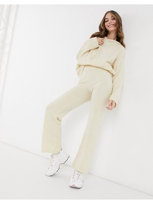 ASOS DESIGN knitted wide leg pants in cream-pink