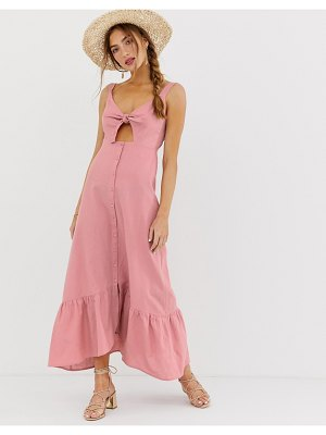 ASOS DESIGN knot front button through maxi dress with cut out-pink
