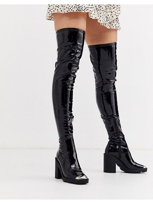 ASOS DESIGN kylie chunky over the knee boots-black
