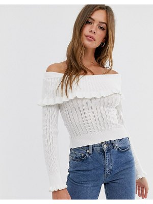 ASOS DESIGN lace bardot sweater with ruffle detail-white