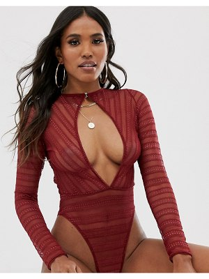 ASOS DESIGN lace body with cut out detail-red