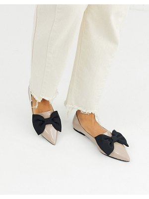 ASOS DESIGN lake bow pointed ballet flats in beige-gray