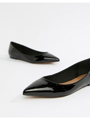 ASOS DESIGN latch pointed ballet flats-black
