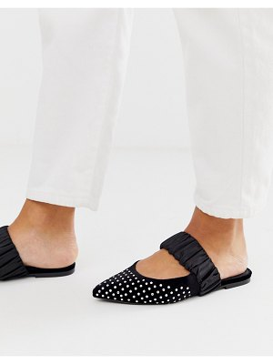 ASOS DESIGN lately embellished pointed mules in black
