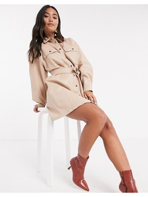 ASOS DESIGN leather look button through mini shirt dress with belt in stone-beige