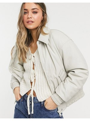 ASOS DESIGN leather look padded bomber jacket in putty-blues