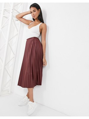 ASOS DESIGN leather look pleated midi skirt in burgundy-no color
