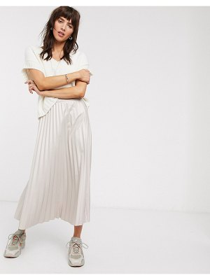 ASOS DESIGN leather look pleated midi skirt in stone