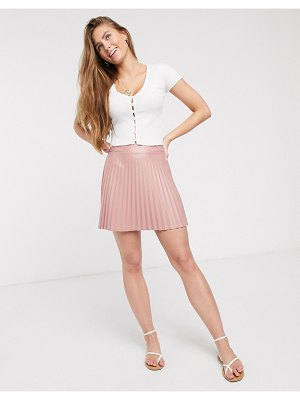 ASOS DESIGN leather look pleated mini skirt in pink