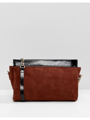 ASOS DESIGN leather mix shoulder bag with chain strap
