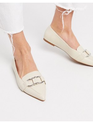 ASOS DESIGN legit snaffle loafer ballet flats in bone-white