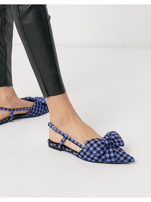 ASOS DESIGN liliana pointed bow slingback ballet flats in blue check